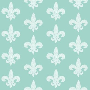 fleur de lis // mint and white grid weave cute nursery baby design