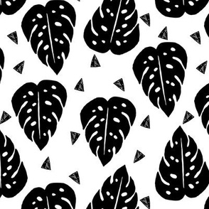 monstera // cheese plant tropical palm planter palm print kids black and white triangle trend