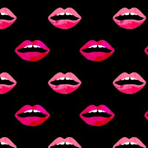 love lipstick - lips on black valentines love red beauty makeup print trendy fashion valentines love print