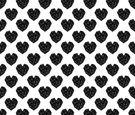 geo hearts fabric black and white minimal geometric heart fabric by charlottewinter on Spoonflower - custom fabric