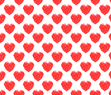 geo hearts red valentines pattern design cute fabric by charlottewinter on Spoonflower - custom fabric