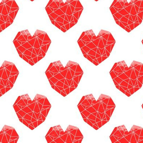 geo hearts red valentines pattern design cute