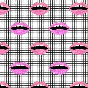 love lipstick grid Memphis 80s rad modern valentines xoxo