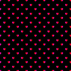 mini pink and red heart for valentines girly trendy print on black
