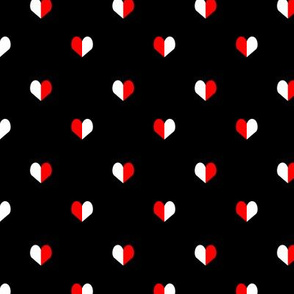 mini heart black white and red simple minimal print