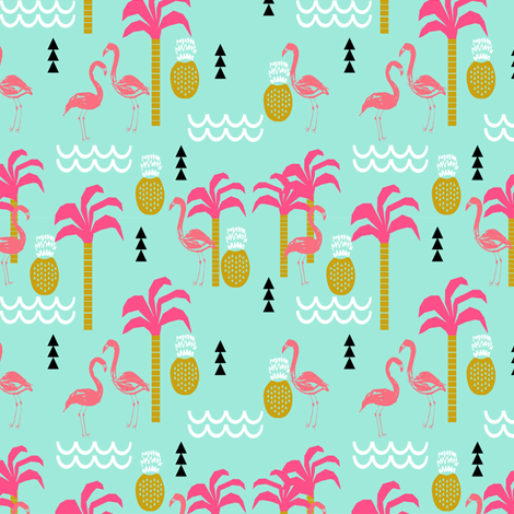 Flamingo pink and mint coral cute pineapple summer beach for Kids print fabric