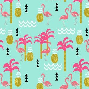 flamingo pink and mint coral cute pineapple summer beach tropical kids print