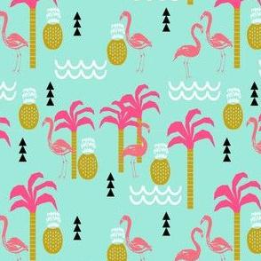 flamingo pink and mint coral cute pineapple summer beach tropical kids print