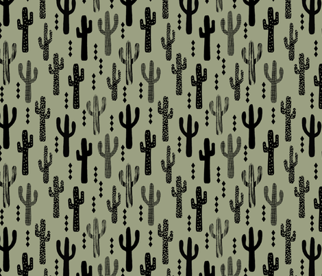 cactus dark green nursery baby boy kids outdoors southwest  fabric by charlottewinter on Spoonflower - custom fabric