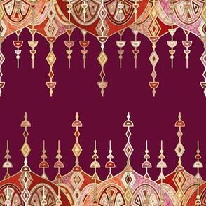 Burgundy and Gilt Art Deco Double Drop