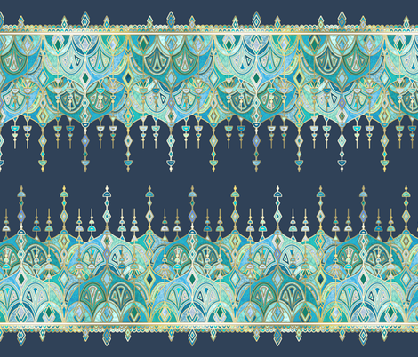 Navy and Emerald Art Deco Double Drop fabric by micklyn on Spoonflower - custom fabric