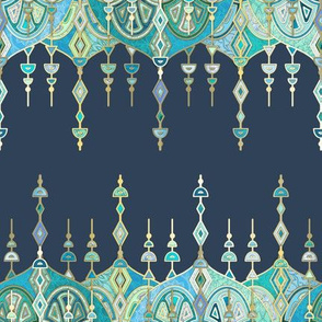 Navy and Emerald Art Deco Double Drop