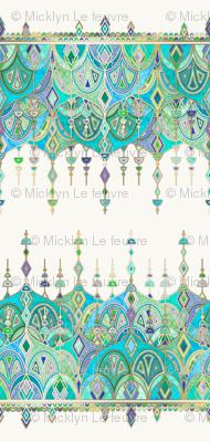 Jade and Aquamarine Art Deco Double Drop
