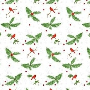 Christmas Pine Boughs & Cardinals