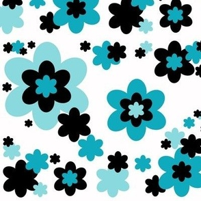 Turquoise Teal Blue Black Floral Flower Pattern
