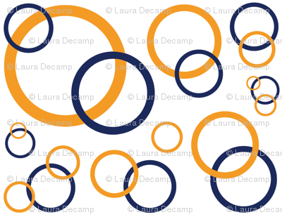Navy Blue Orange Coral Geometric Circles