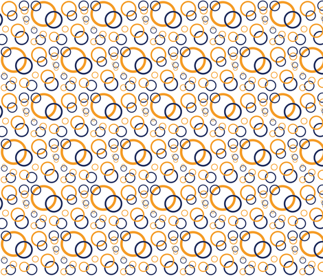 Navy Blue Orange Coral Geometric Circles fabric by decamp_studios on Spoonflower - custom fabric