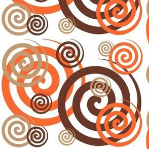 Brown Tan Orange Swirls Geometric Design