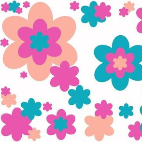 Teal Turquoise Blue Pink Coral Hot Pink Flower Floral Pattern