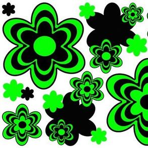 Lime Mint Green Abstract Flower Floral Pattern