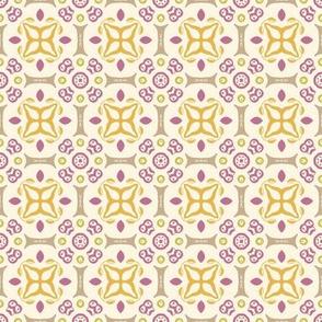 Pretty Purple, Gray and Yellow Print