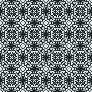 Grid of Celtic Knots in Dark Blue and White