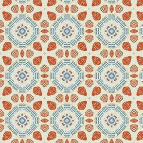 Stripey Orange and Blue Geometric over White