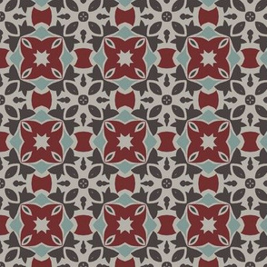 Gothic Design in Dark Red, Gray and White