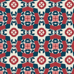 Floral in Red, White and Blue