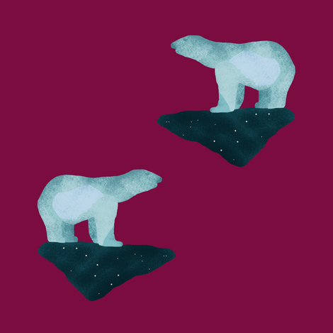 Polar Bears (dark) fabric by arts_and_herbs on Spoonflower - custom fabric
