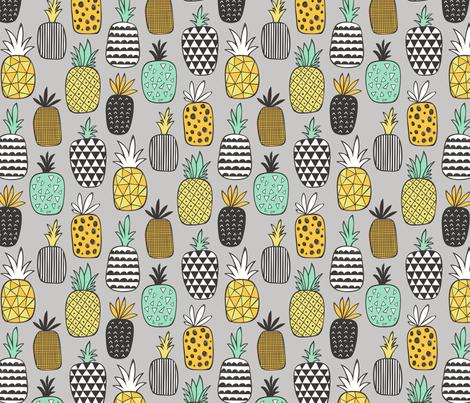 Pineapple Geometric on Grey  fabric by caja_design on Spoonflower - custom fabric