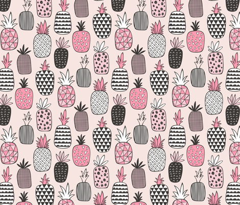 Pineapple Geometric on Pink fabric by caja_design on Spoonflower - custom fabric