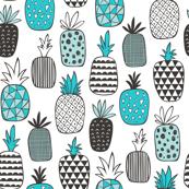 Pineapple Geometric in Aqua Blue