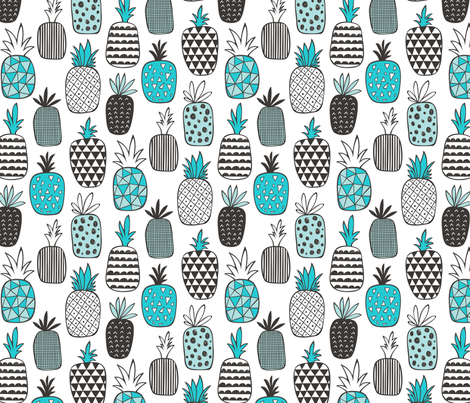 Pineapple Geometric in Aqua Blue fabric by caja_design on Spoonflower - custom fabric