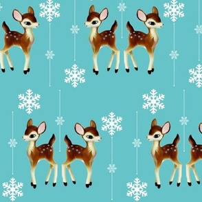 Reindeer and snowflakes