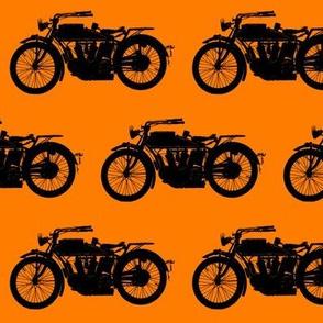 Antique Motorcycles on Orange // Medium