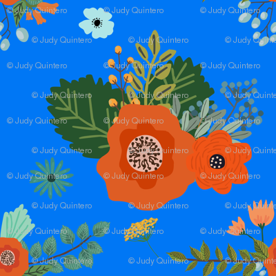 Floral Bright Blue Flowers