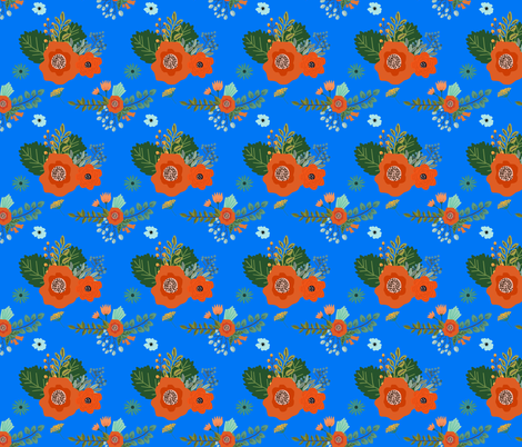Floral Bright Blue Flowers fabric by shopcabin on Spoonflower - custom fabric