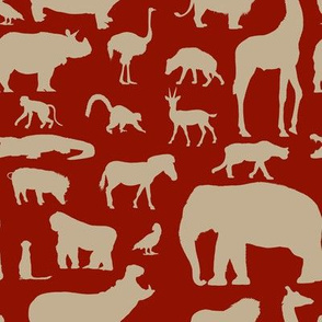 African Animals - Khaki/Burgundy