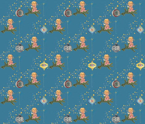 Angels and Ornaments - A retro Chritmas design fabric by hollywood_royalty on Spoonflower - custom fabric