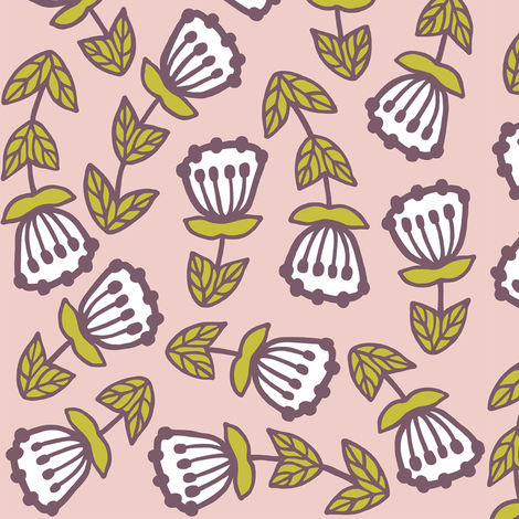 Blooms in pink fabric by lburleighdesigns on Spoonflower - custom fabric