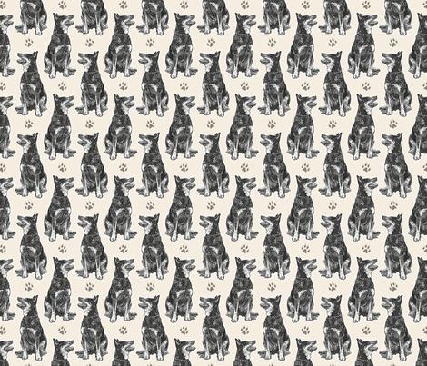 Small sitting Australian cattle dog - paw print sepia fabric by rusticcorgi on Spoonflower - custom fabric