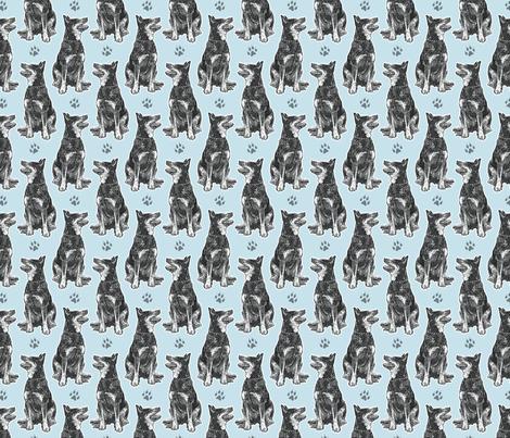 Small sitting Australian cattle dog - paw print blue fabric by rusticcorgi on Spoonflower - custom fabric