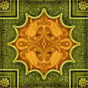 Floral Tile in Orange, Yellow and Greens