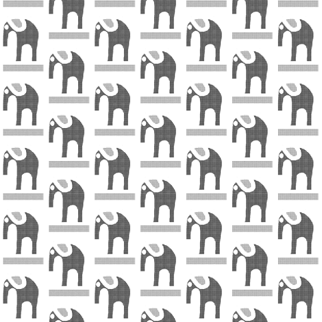 Gray Flannel Elephants on White fabric by eve_catt_art on Spoonflower - custom fabric