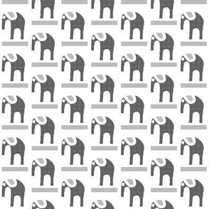 Gray Flannel Elephants on White