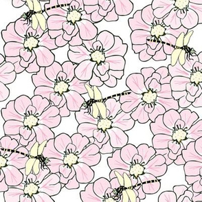 Pink flowers and dragonflies - by MiaMea