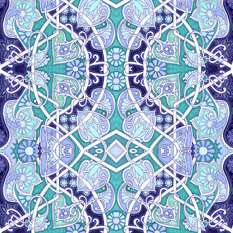 Meandering Spade-Flower Blues fabric by edsel2084 on Spoonflower - custom fabric