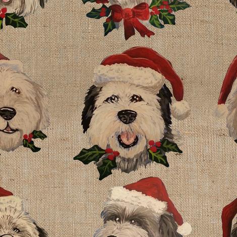 Santa_Sheepies_Burlap fabric by creativeworksstudios on Spoonflower - custom fabric
