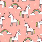 Cute Unicorn Rainbow on Peach